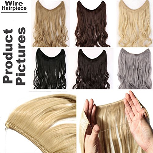 Miracle Translucent Invisible Wire Fish Line on Clip in Hair Extensions 16 20 24 Inch Straight Wavy Curly Synthetic Hairpieces ()