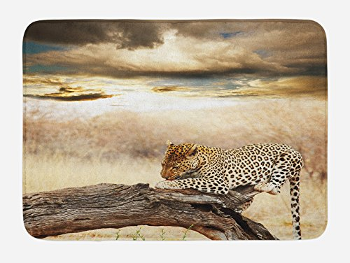 Ambesonne Safari Bath Mat, Leopard Resting Dramatic Cloudy Sky Africa Safari Wild Cats Nature Picture, Plush Bathroom Decor Mat with Non Slip Backing, 29.5 W X 17.5 W Inches, Beige and Brown by Ambesonne