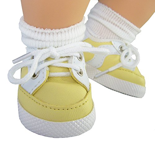Yellow Gym Shoes for Bitty Baby + Twins by Doll Clothes Sew Beautiful