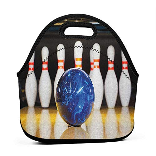 Large Size Reusable Lunch Handbag Bowling Party,Blue Abstract Ball on the Lane Pins Close Up View Sports Leisure Time Game, Multicolor,chicago bears lunch bag for men