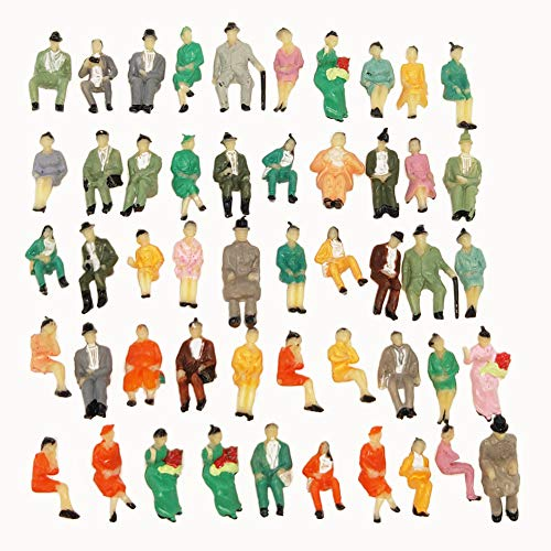 (CWBPING 60pcs 1:87 Model Train Painted People Figures All Seated Passenger HO Scale)