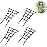 Ibnotuiy 4Pcs Plastic Superimposed Garden DIY Mini Climbing Trellis Flower Supports Courtyard Plant Support Dark Green