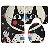 washer and dryer bases pedestal - Libra Astronaut Cat Bathroom Rugs And Mats Sets 3 Piece Non-slip Bath Mat Toilet Rug Toilet Lid Cover Set Bath-rugs Washable