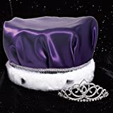 Coronation Set, 2 1/4 inch High Sharona Tiara and Purple Satin Crown with Silver Sequins, White Fur
