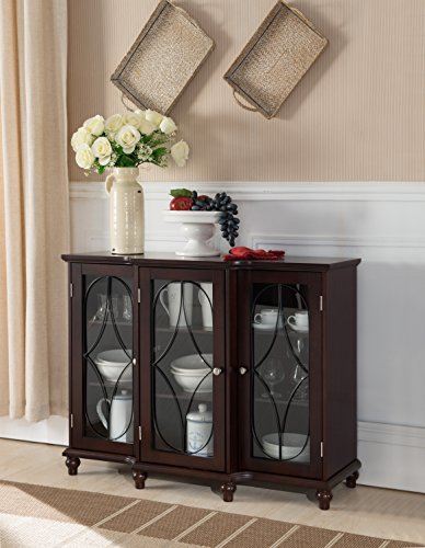 Cherry Wood Sideboard Buffet Console Table With Glass Cabinet Doors & (Cherry Office Buffet)