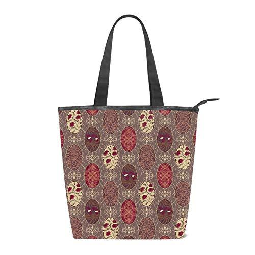Canvas Patchwork Floral Tote Bag Zipper Closure Shoulder Bag Travel Bag for Weekend Perfect Bag for ()