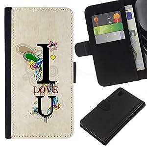 iBinBang / Flip Funda de Cuero Case Cover - Te Amo texto del trullo T Corazón Novio - Sony Xperia Z1 L39H