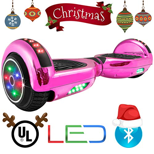 (XtremepowerUS Self Balancing Scooter Hoverboard UL2272 Certified, Bluetooth Speaker and LED Light (Pink Chrome))