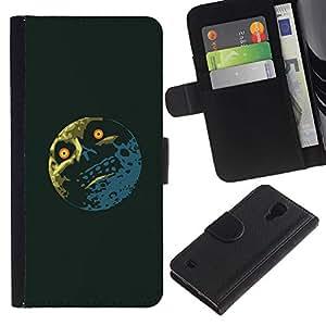 KLONGSHOP // Tirón de la caja Cartera de cuero con ranuras para tarjetas - Troll Meme Lol Luna divertido - Samsung Galaxy S4 IV I9500 //