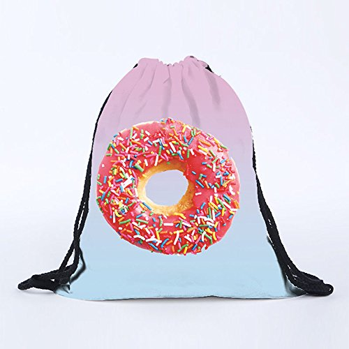 mk. park - Unisex 3D Emoji Print Drawstring Backpack Sport Gym Dancing Shoes Shoulder Bags (Donuts) Atomic Twin Tip