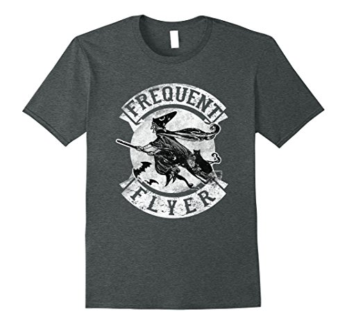 Mens Frequent Flyer Funny Halloween Witch T-Shirt Costume Gift Large Dark Heather