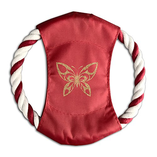 Pink Sky Gold Butterfly Clipart Multifunctional Pet Throw Toy Braided Cotton Rope Frisbee Dog Chew Toys Outdoor Training Tool Canvas Flying Disc