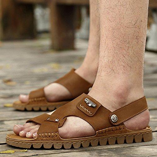 FYios Men's sandals men's beach shoes Youth Students,Forty,Dark brown (Youth Dark Footwear Brown)