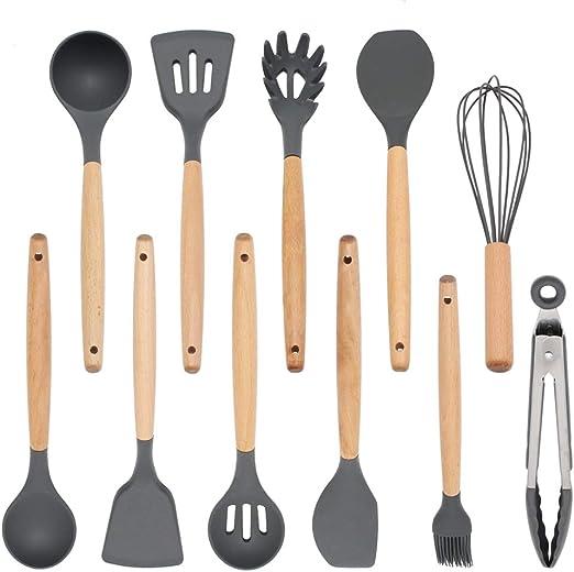 Mini Silicone Turner Spoon /& Tongs Grey