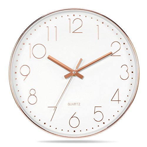 Genbaly Modern Wall Clock, Non Ticking Quality Quartz Battery Operated 12 Inch Round Easy to Read Home/Office/School Clock, Rose Gold (White White Gold Clock)