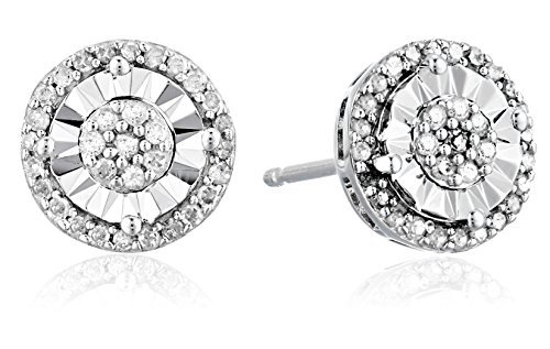 Sterling Silver with White Round Diamond Miracle Plated Stud Earrings (1/4cttw, I-J Color, I2-I3 (1/4 Carat Diamond Cluster Ring)
