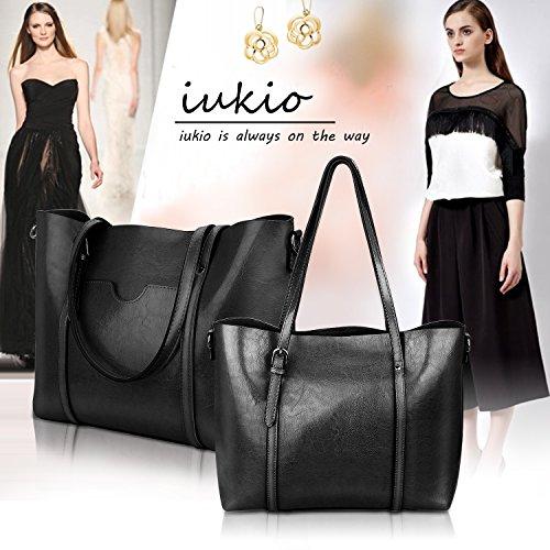 Women Top Handle Satchel Handbags Shoulder Bag Tote Purse Greased Leather Iukio (Black) by IUKIO (Image #3)