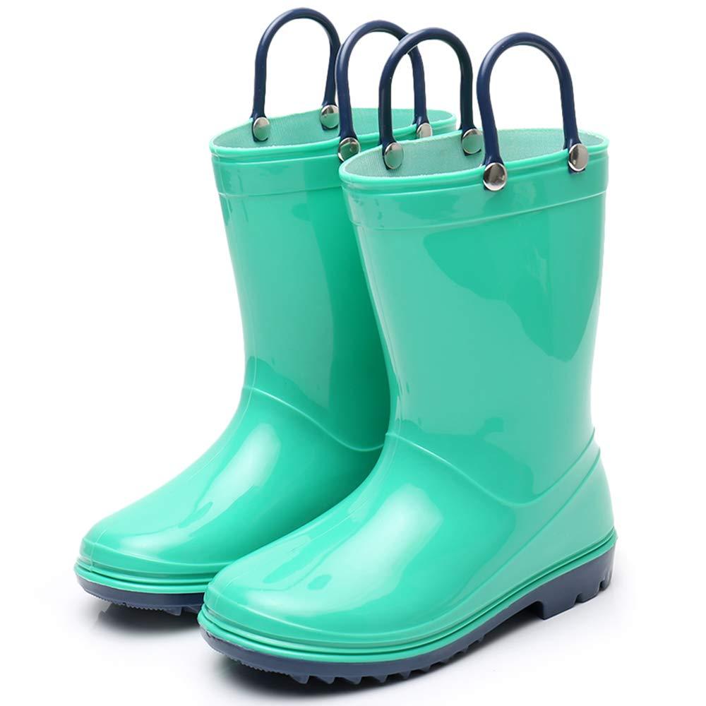 Girls Solid Lightweight Rain Boots with Handle Kids Cute Waterproof Shoes(Grey/Black/Blue/Green) (Little Kid 3M, Green) by TRIPLE DEER (Image #6)