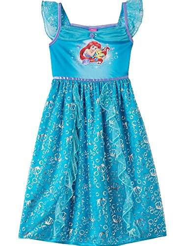 The Little Mermaid Ariel Girls Nightgown Pajamas (6, Ariel Blue)