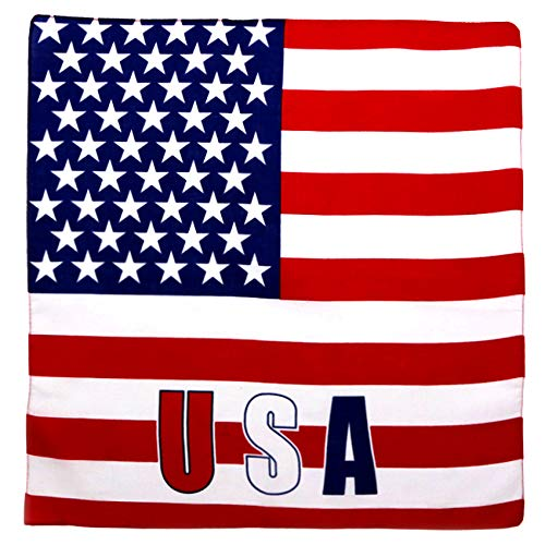 Fair Deal 12 Pack Flag Bandana 100% Cotton Flag Headband Handkerchief Unisex Bandanas Patriotic Accessories (USA/12PACK)