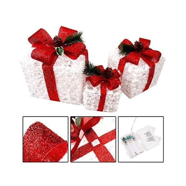 CCLIFE LED accendere Decorativa Natale Pacco Regalo Box Set dimmerabile, 3 Pezzi, Scatola Regalo LED, Illuminazione Decorativa, Colore:C: bianco + rosso, lana 3 spesavip