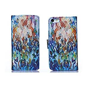 WQQ Colorful Flower Oil Painting Style PU Leather Full Body Case with Stand and Card Slot for iPhone 6