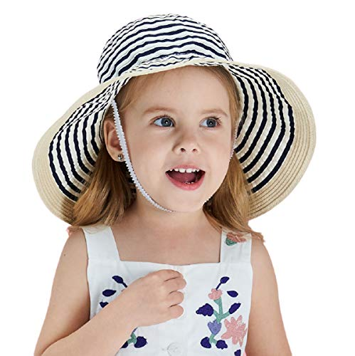 Connectyle Little Kids UPF 50+ Sun Protection Hats for Boys Floppy Roll Up Brim Summer Fishing Sun Cap Navy Blue (Hat Summer)