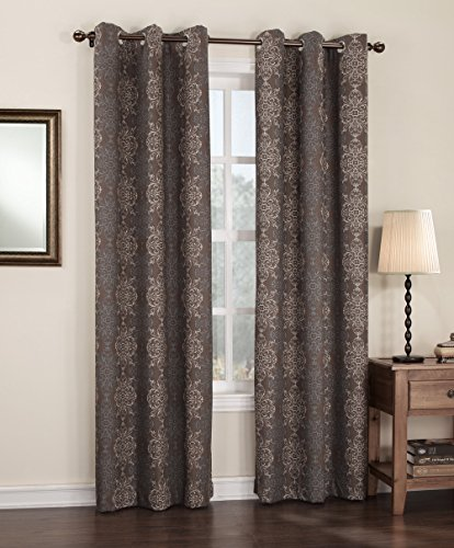 """Sun Zero Ravi Thermal Lined Energy Efficient Curtain Panel, 40"""" x 84"""", Chocolate Brown"""