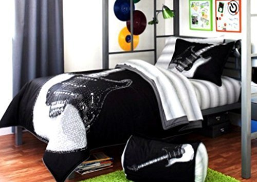 Rock Your Room NK679153 Electric Guitar Style Bed Set, Black and White, Twin