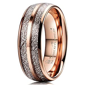 THREE KEYS JEWELRY 4mm 6mm 8mm Tungsten Wedding Ring Imitated Meteorite Rose Gold Polished Band