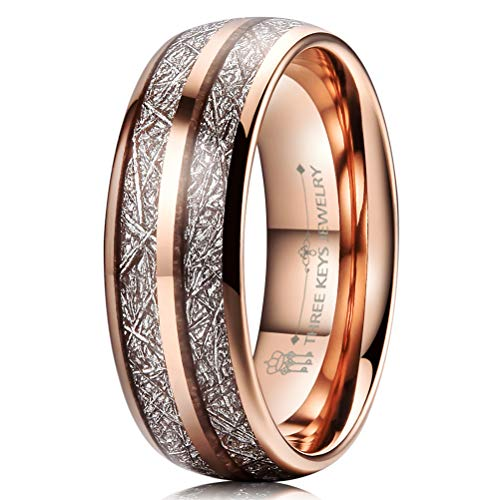 Three Keys 8mm Tungsten Wedding Ring for Men Domed Imitated Meteorite Inlay Rose Gold Mens Meteorite Wedding Band Engagement Ring Promise Ring Size 10.5