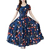 Outeck Women Pleated Ruched Long Pleated Dress Elegant O Neck Short Sleeves A-Line Dress Floral Print Skirt (M, Blue)