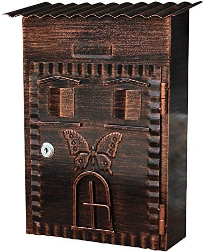 屋外の壁に取り付けられたメールボックス メールボックスレトロヴィンテージキャストアルミ屋外の壁は、メールボックスポストボックスの文字スタンプの新聞をマウント (Color : AS Shown, Size : 22x9.5x34cm)