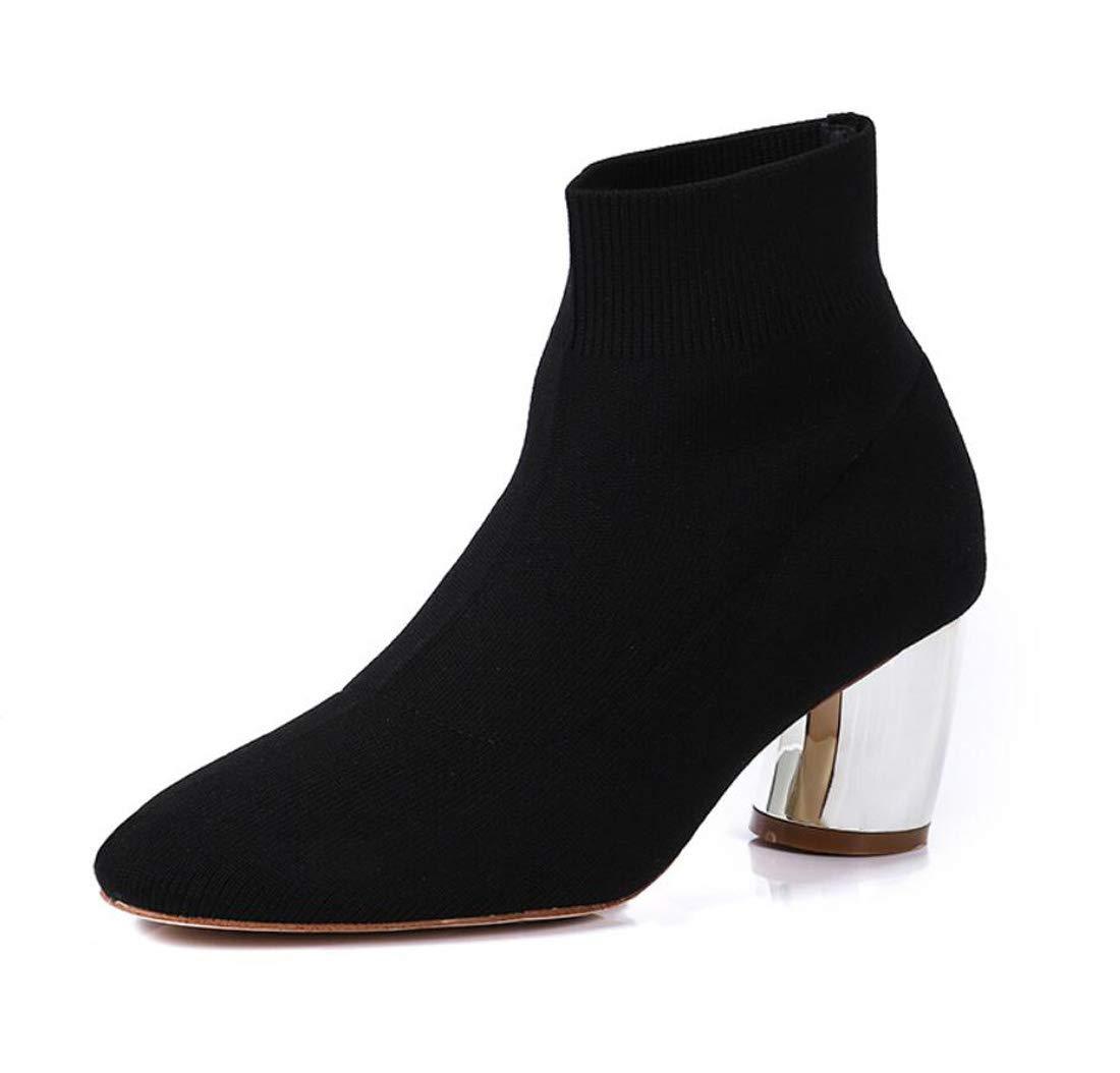 DANDANJIE Scarpe da Donna Stivali Stretch Casual Stivali Alti Calzini Tacco Autunno E Inverno,nero,39EU