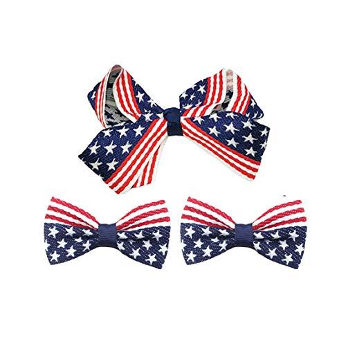 - Baby Girls Hairpin Flag Ribbon Hair Clips Alligator Barrette For Festival Days JHN05 (3 Pcs-Set G)