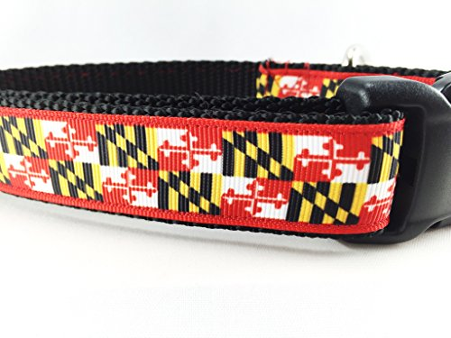 CANINEDESIGN QUALITY DOG COLLARS Caninedesign, Maryland Flag Dog Collar, 1 inch wide, side release buckle, nylon, adjustable, medium and large (XL 18-26