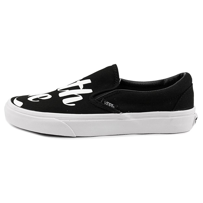vans black and white slip ons