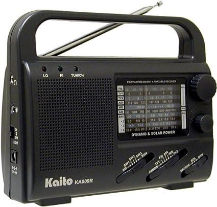 Kaito KA009R 4-Way Powered Emergency Crank Radio with Shortwave Antenna T1