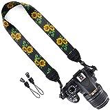 Wolven Camera Neck Shoulder Belt Strap Compatible for DSLR/SLR Etc,Black Flower