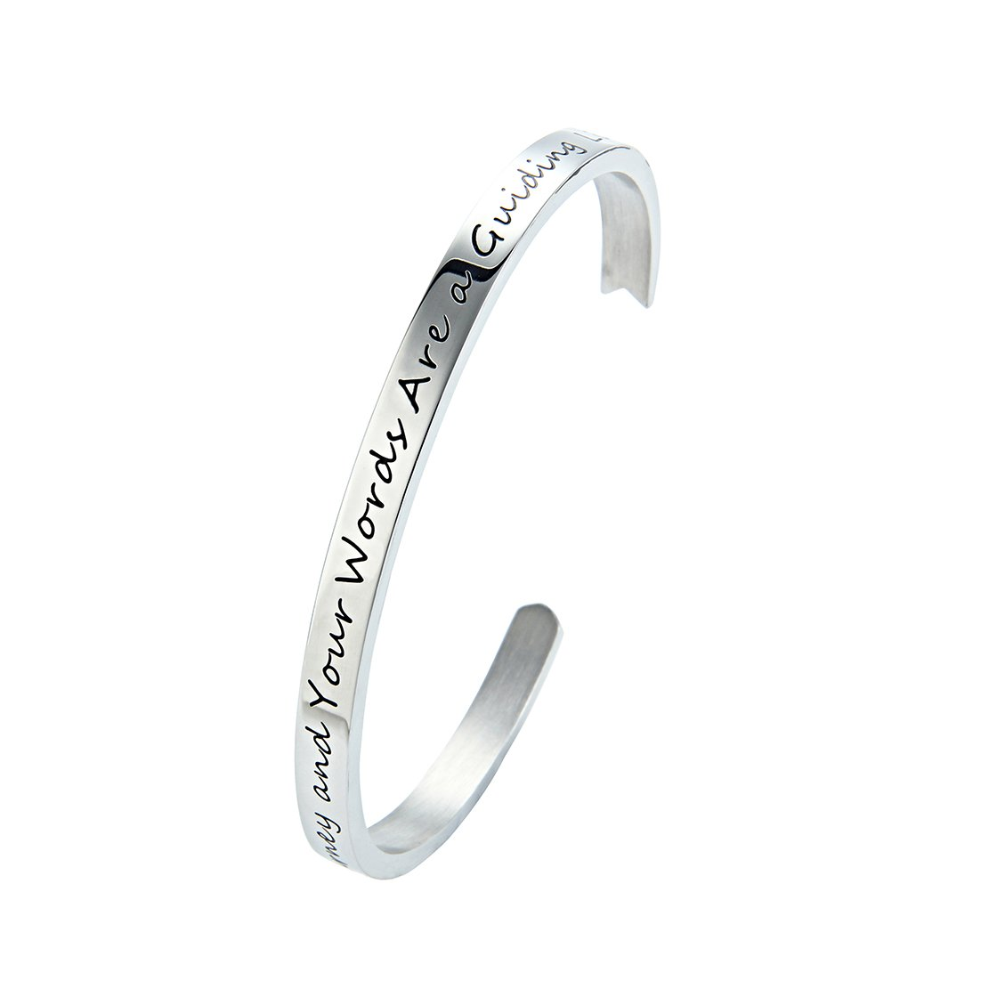 Meibai Teachers Bracelet Stainless Steel Arrow Cuff Bangle Engraved Words for Teacher Education Gift (Silver-Life Is a Journey and Your Words Are a Guiding Light)