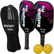 Bullpickpro Pickleball Paddle Sets-Composite Fiber Face and PP Honeycomb Core Pickleball Racquet,Lightweight B