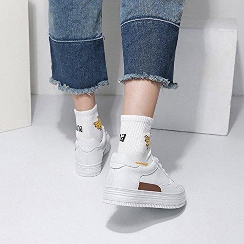 monopat Parte Ocasionales Forman Las de de Las Planas del Blancas Inferiores Cordones Zapatos con Posterior Respirable Mujeres SHI la Zapato Zapatillas Deporte del Gruesos SgwnvwxC