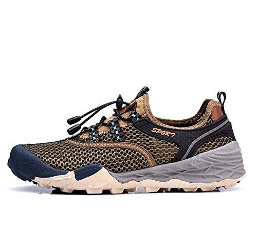 Onfly Bomba Malla Hilado de red Zapatos deportivos Zapatos casuales Hombres Respirable Color puro Halar Cordon de zapato Antideslizante Snekers Al aire libre Zapatos de escalada Zapatos de senderismo  Khaki