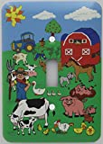 Presto Wall Decals Barnyard Animal Farm Light Switch Plate Cover with Barn Animals including Cows, Horse, Goat, Pigs, Ducks, Chickens, Sheep, Tractor, Barn, and Farmer