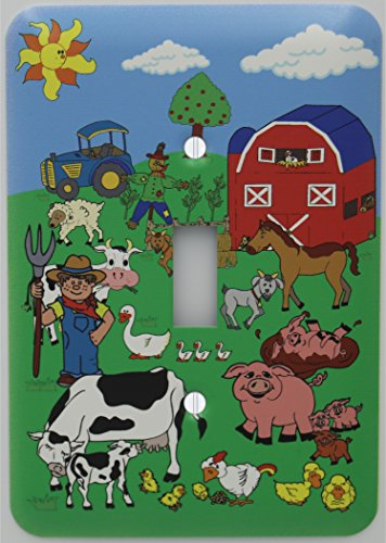 Cotton Duck Light - Presto Wall Decals Barnyard Animal Farm Light Switch Plate Cover with Barn Animals including Cows, Horse, Goat, Pigs, Ducks, Chickens, Sheep, Tractor, Barn, and Farmer