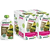 Sprout Organic Baby Food Pouches Stage 2 Sprout Baby Food, Pear Kiwi Peas Spinach, 4 Ounce (Pack of 10); USDA Organic, Non-GMO, Made with Whole Foods, No Preservatives, Nothing Artificial