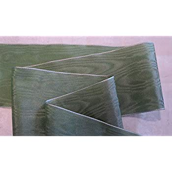 "SAGE GREEN RAYON 3/"" WIDE GERMAN MOIRE RIBBON"