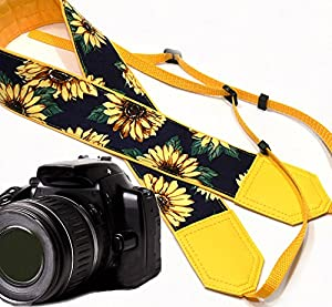 Yellow Sunflowers camera strap. Yellow blossoms on dark background camera strap. Yellow flowers DSLR / SLR Camera Strap. Durable, light weight and well padded camera strap. code 00090