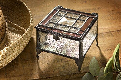 J Devlin Glass Art Box 354-2 Pink Rose Tiffany Glass Jewelry Box Keepsake Gift for Mom Square Decorative - Pink Tiffany