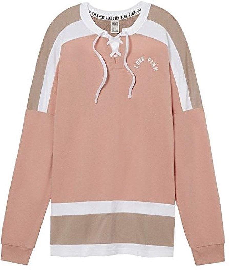 Victorias Secret Pink NEW Oversize Lace Up Varsity Crew Ballet Pink Medium